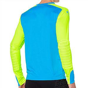 Camiseta portero Uhlsport Tower GK - Camiseta de manga larga de portero Uhlsport - azul celeste y amarillo flúor - trasera