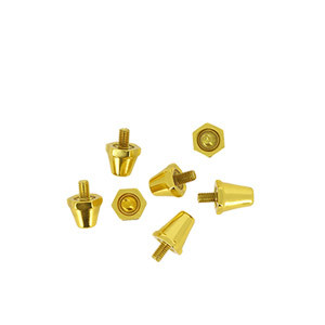 Tacos Uhlsport Aluminio 13/16 mm - 12 uds (8x13 mm y 4x16 mm) de tacos de aluminio de repuesto para botas Nike, Puma, New Balance,... - dorados - trasera