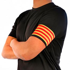 Brazalete de capitán Cataluña 36 cm - Brazalete de capitán Senyera - amarillo / rojo - frontal modelo