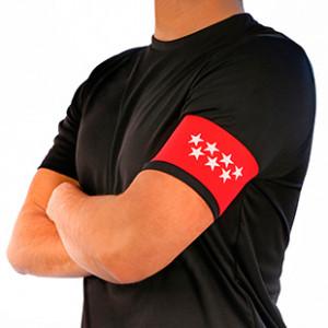 Brazalete de capitán infantil 30 cm - Brazalete de capitán niño Comunidad de Madrid - rojo - frontal modelo