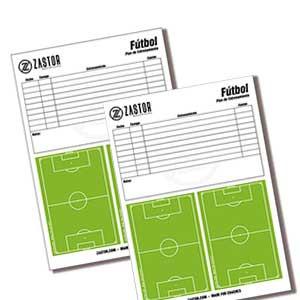 Blog hojas tácticas Zastor DIN A4 fútbol - Blog de 50 hojas tácticas Zastor DIN A4 para fútbol - blancas y verdes - frontal