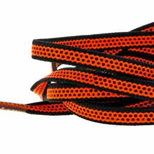 Cordones planos y finos Mr. Lacy Goalies - Cordones con grip para botas fútbol (125 cm de largo x 6 mm de ancho) - naranjas y negros - detalle
