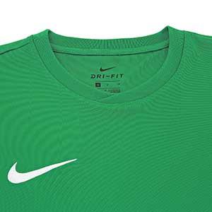 Camiseta entreno Nike Dry Football - Camiseta manga corta de entrenamiento Nike - verde oscuro - detalle cuello