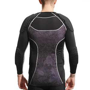Camiseta larga protección portero McDavid Hex GK - Camiseta de manga larga compresiva portero con protección McDavid - negra - trasera