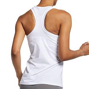 Camiseta de tirantes Nike Pro mujer - Camiseta de tirantes de mujer para fútbol Nike - blanca - trasera