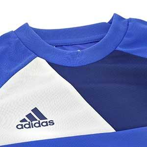 Camiseta portero niño adidas Assita 17 - Camiseta de portero infantil de manga larga acolchada adidas - Azul - detalle escudo cuello