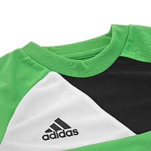 Camiseta portero niño adidas Assita 17 - Camiseta de portero infantil de manga larga acolchada adidas - Verde - detalle cuello escudo