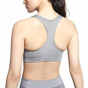 Sujetador Nike mujer Swoosh con relleno - Top deportivo Nike de mujer con relleno para fútbol - gris - trasera