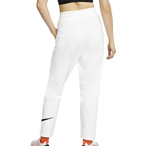 Pantalón Nike Swoosh mujer - Pantalalón largo de algodón para mujer Nike - blanco - trasera