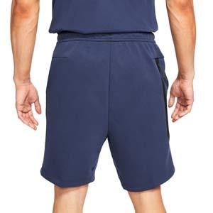 Short Nike Sportswear Tech Fleece - Pantalón corto de algodón Nike - azul marino - trasera