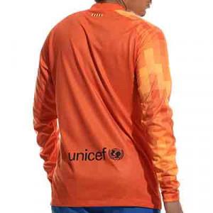 Camiseta Nike Barcelona portero 2021 2022 Dri-Fit Stadium - Camiseta de manga larga de portero Nike del FC Barcelona 2021 2022 - naranja - completa trasera