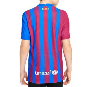 Camiseta Nike Barcelona 2021 2022 niño Dri-Fit ADV Match - Camiseta auténtica primera equipación infantil Nike del FC Barcelona 2021 2022 - azulgrana - completa trasera
