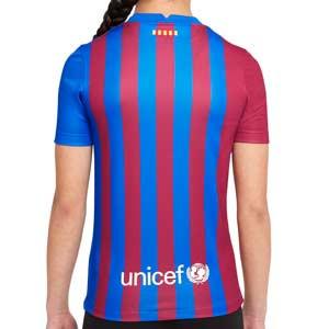 Camiseta Nike Barcelona 2021 2022 niño Dri-Fit Stadium - Camiseta primera equipación infantil Nike del FC Barcelona 2021 2022 - azulgrana - completa trasera