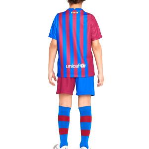 Equipación Nike Barcelona niño 3 - 8 años 2021 2022 - Conjunto infantil de 3 a 8 años Nike primera equipación FC Barcelona 2021 2022 - azulgrana - completa trasera