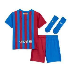 Equipación Nike Barcelona bebé 3 - 36 meses 2021 2022 - Conjunto bebé de 3 a 36 meses Nike primera equipación FC Barcelona 2021 2022 - azulgrana - completa trasera