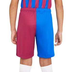 Short Nike Barcelona 2021 2022 niño Dri-Fit Stadium - Pantalón corto primera equipación infantil Nike del FC Barcelona 2021 2022 - azulgrana - completa trasera