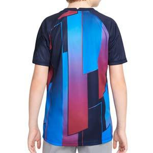 Camiseta Nike Barcelona niño pre-match - Camiseta de calentamiento pre-partido infantil Nike del FC Barcelona - azulgrana - completa trasera