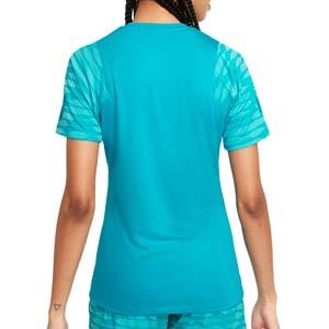 Camiseta Nike Dri-Fit Strike 21 mujer - Camiseta de entrenamiento de fútbol para mujer Nike - azul turquesa - trasera