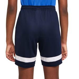 Short Nike Dri-Fit Academy 21 niño - Pantalón corto de entrenamiento de fútbol infantil Nike - azul marino - trasera