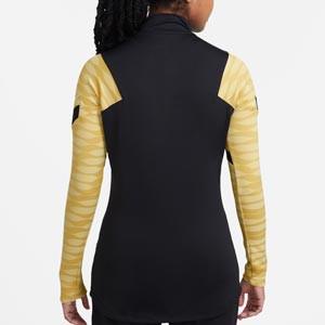 Sudadera Nike mujer Dri-Fit Strike 21 - Sudadera de entrenamiento de fútbol para mujer Nike - negra y dorada - trasera