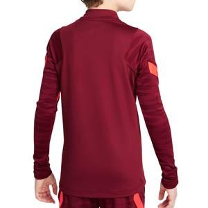 Sudadera Nike Liverpool entrenamiento niño Dri-Fit Strike - Sudadera infantil de entrenamiento Nike del Liverpool FC - granate - completa trasera
