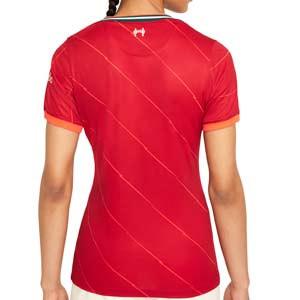 Camiseta Nike Liverpool 2021 2022 mujer Dri-Fit Stadium - Camiseta mujer primera equipación Nike Liverpool FC 2021 2022 - roja - trasera