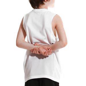 Camiseta tirantes Nike Dri-Fit Academy 21 niño - Camiseta sin mangas infantil de entrenamiento de fútbol Nike - blanca - trasera