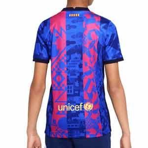 Camiseta Nike Barcelona 3a 2021 2022 niño Dri-Fit Stadium - Camiseta tercera equipación infantil Nike del FC Barcelona 2021 2022 - azul, rosa