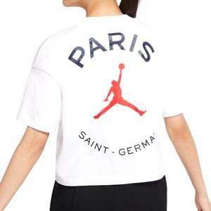 Camiseta Nike PSG x Jordan mujer - Camiseta de manga corta de algodón Nike x Jordan Paris Saint-Germain - blanca