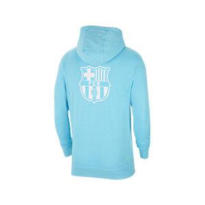 Sudadera Nike Barcelona Sportswear Hoodie Beach Wash - Sudadera con capucha de algodón Nike del FC Barcelona de la colección Beach Was - azul celeste - trasera