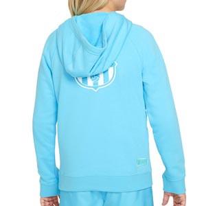 Sudadera Nike Barcelona niño Sportswear Beach Wash - Sudadera con capucha infantil de algodón Nike del FC Barcelona de la colección Beach Wash - azul celeste - trasera