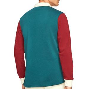 Polo manga larga Nike Liverpool Dri-Fit - Polo de manga larga de algodón Nike del Liverpool FC - rojo, verde turquesa