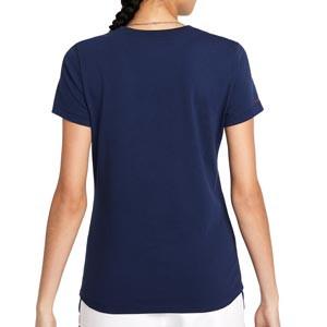 Camiseta Nike PSG x Jordan mujer Crew - Camiseta de algodón para mujer Nike x Jordan del París Saint-Germain - azul marino