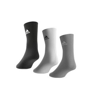 Calcetines media caña adidas Cush Crew 3 pp - Pack 3 calcetines de media caña adidas - grises, blancos y negros - trasera