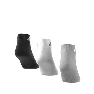 Calcetines tobilleros adidas Cushioned 3pp - Pack 3 calcetines tobilleros adidas - blanco, grises y negros - trasera