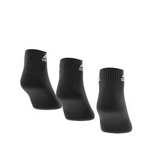 Calcetines tobilleros adidas Cushioned 3pp - Pack 3 calcetines tobilleros adidas - negros - trasera
