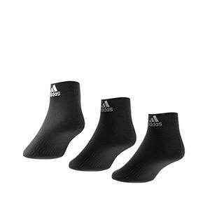 Calcetines adidas 3 pares finos - Pack 3 calcetines tobilleros adidas - negros