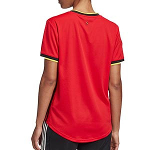 Camiseta adidas Bélgica mujer 2019 2020 - Camiseta de mujer primera equipación selección belga 2019 2020 - roja - trasera
