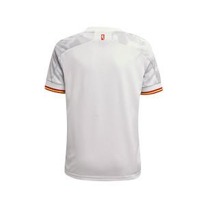 Camiseta adidas 2a España niño 2021 - Camiseta infantil segunda equipación adidas de la selección española 2021 - blanca grisácea - trasera