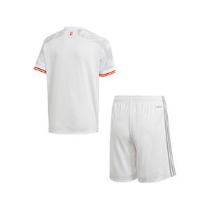 Equipación adidas 2a España niño 2021 - Conjunto infantil 7-14 años segunda equipación adidas de la selección española 2021 - blanco grisáceo - trasera