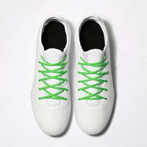 Cordones futbolmania extrafinos - Cordones extrafinos para botas de fútbol ligeras y botas de fútbol altas (4 mm ancho x 1,4 mm de grosor) - verdes - aplicacion