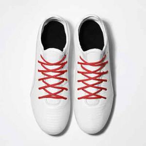 Cordones futbolmania extrafinos - Cordones extrafinos para botas de fútbol ligeras y botas de fútbol altas (4 mm ancho x 1,4 mm de grosor) - rojos - aplicacion
