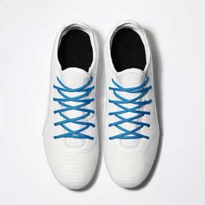 Cordones futbolmania extrafinos - Cordones extrafinos para botas de fútbol ligeras y botas de fútbol altas (4 mm ancho x 1,4 mm de grosor) - azules - grosor y textura