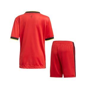 Equipación adidas Bélgica niño pequeño 2020 2021 - Conjunto infantil 1-6 años primera equipación selección belga 2020 2021 - rojo y negro - trasera