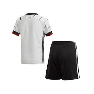Equipación adidas Alemania 2020 2021 - Conjunto infantil 1-6 años primera equipación selección alemana 2020 2021 - blanca y negra - trasera