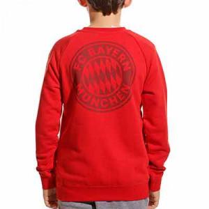 Sudadera adidas Bayern niño Crew - Sudadera de paseo de algodón infantil adidas del Bayern de Múnich - roja