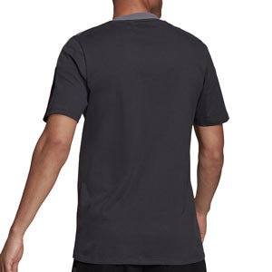 Camiseta algodón adidas Juventus entrenamiento - Camiseta manga corta de algodón entrenamiento para entrenadores adidas Juventus - gris - trasera