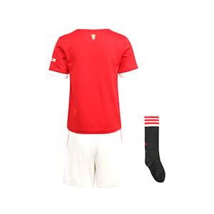 Equipación adidas United niño pequeño 2021 2022 - Conjunto infantil 1-6 años primera equipación adidas Manchester United 2021 2022 - rojo y blanco