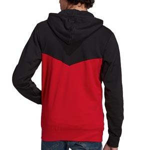 Sudadera adidas United 3 Stripes Hoodie - Sudadera con capucha de algodón adidas del Manchester United - negra y roja