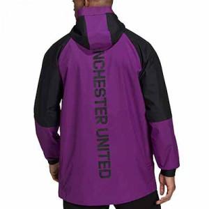 Chaqueta adidas United Travel - Chaqueta con capucha adidas del Manchester United - negra y lila